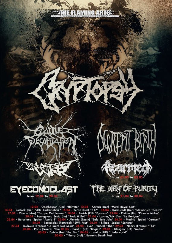 Cryptopsy - tour flyer - 2013