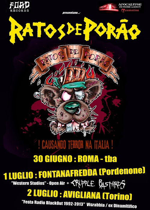 ratos de porao - locandina tour italiano - 2013