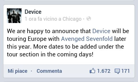 device annuncio tour con avenged sevenfold