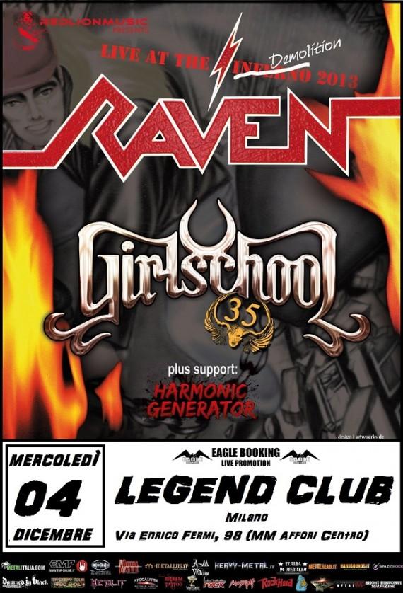 raven - girlschool - live milano 2013 locandina