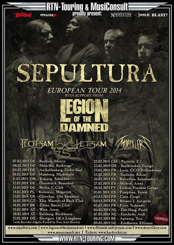 SEPULTURA, LEGION OF THE DAMNED, FLOTSAM AND JETSAM, MORTILLERY - tour 2013