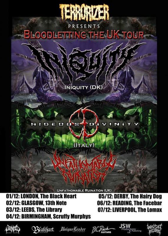 iniquity - hideous divinity - locandina tour uk - 2013