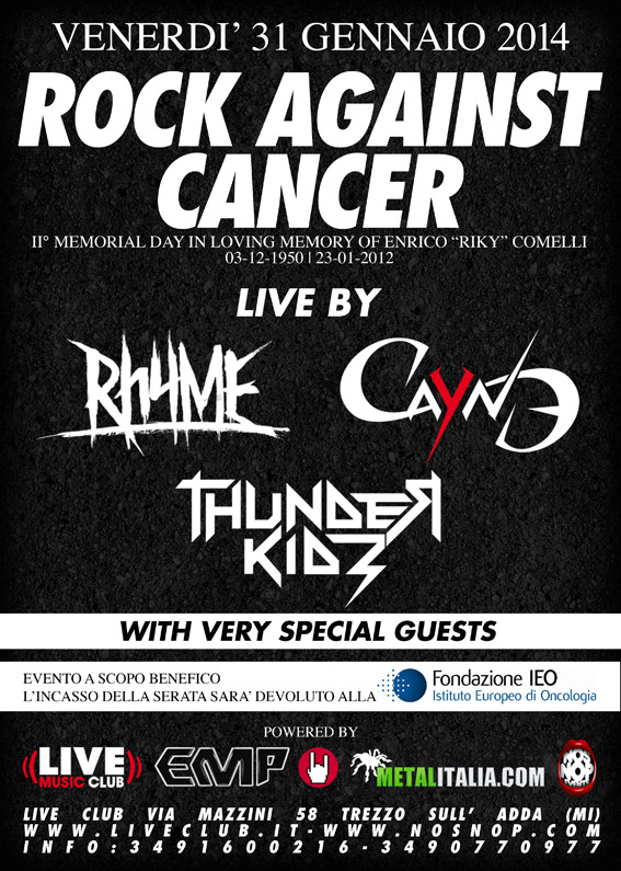 rock against cancer 2014 - prima locandina
