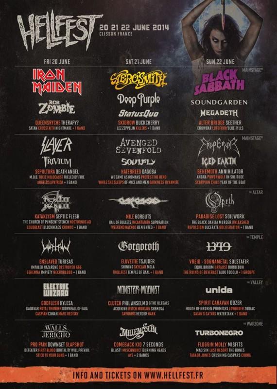 Hellfest 2014 - locandina aggiornamento febbraio