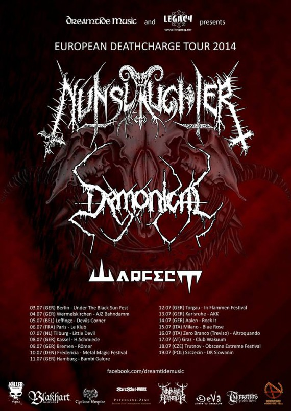 Nunslaughter - flyer tour - 2014