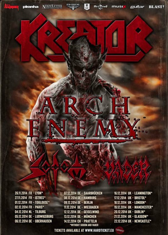 sodom kreator arch enemy vader - tour - 2014