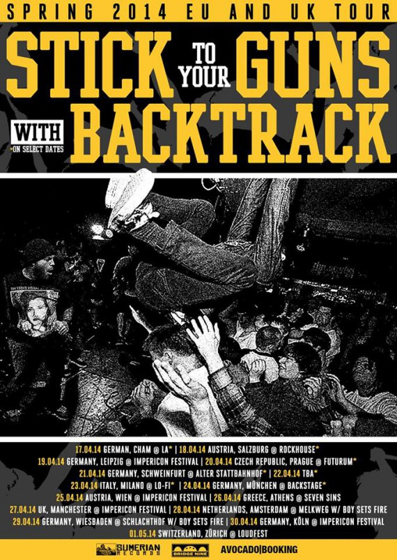 stick to your guns, backtrack - tour europa - 2014