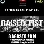 UNITED AS ONE FESTIVAL 2014: confermati i RAISED FIST