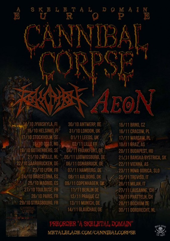Cannibal Corpse - tour flyer - 2014