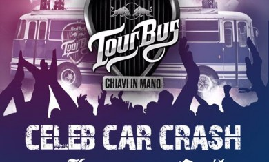 lacuna coil celeb car crash - red bull tourbus - 2015