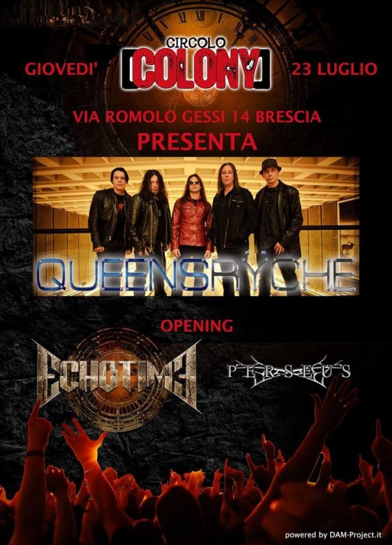 Queensryche - flyer Colony Brescia - 2015