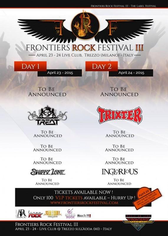 frontiers rock festival 2016 - primo annuncio band