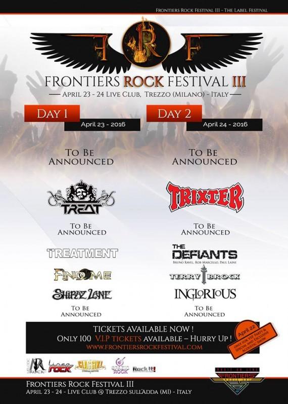 frontiers rock festival 2016 - secondo annuncio