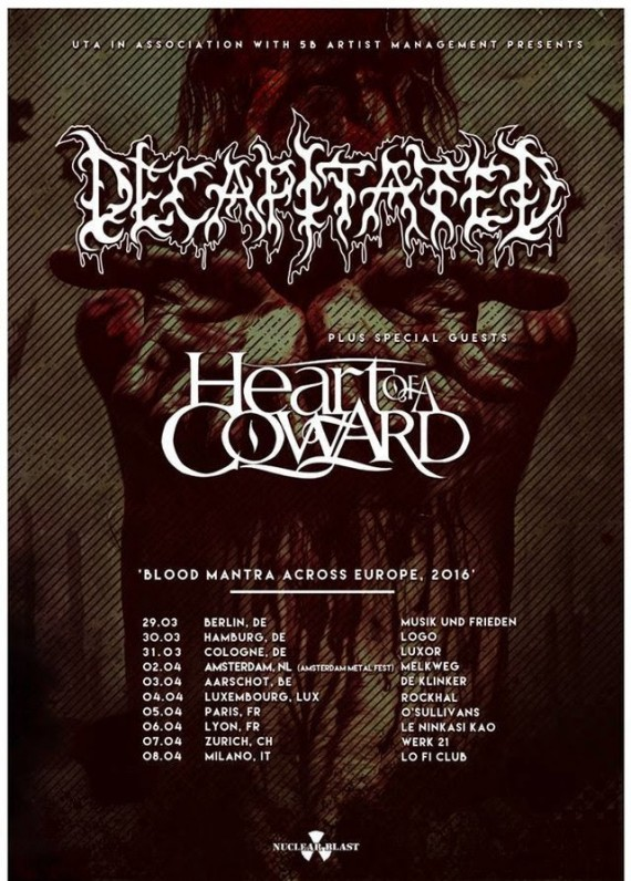 decapitated - tour europeo - 2016
