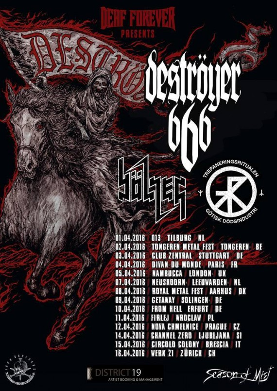 destroyer 666 - tour - 2016