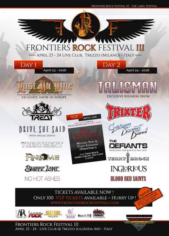 frontiers rock festival 2016 - locandina
