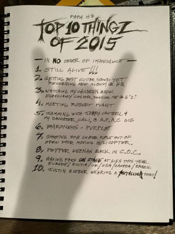metallica - 10 migliori cose hetfield - 2015