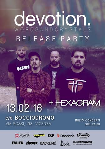 DEVOTION. - locandina release party Words and Crystal - 2016