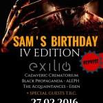 SAM'S BIRTHDAY: posticipato al 27 febbraio