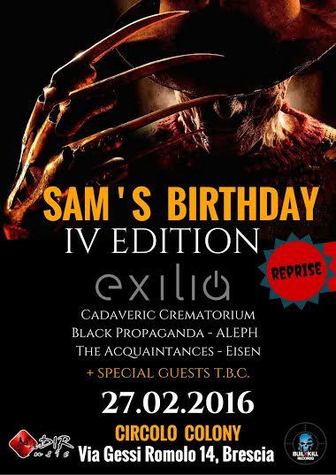 sam's birthday locandina 27 febbraio 2016