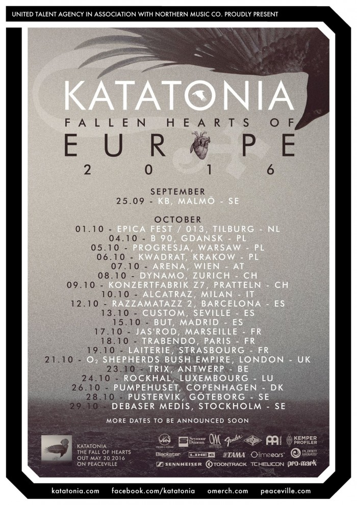 KATATONIA - Tour - Autunno - 2016