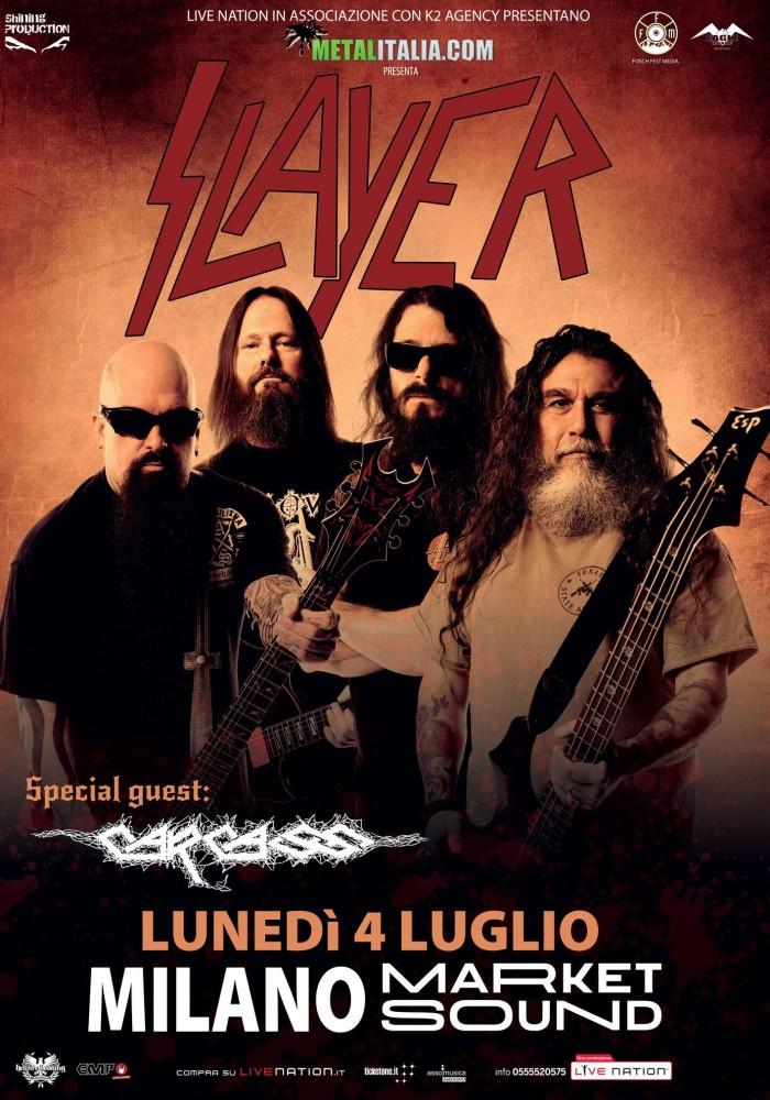 slayer e carcass - market sound milano prima locandina - 2016