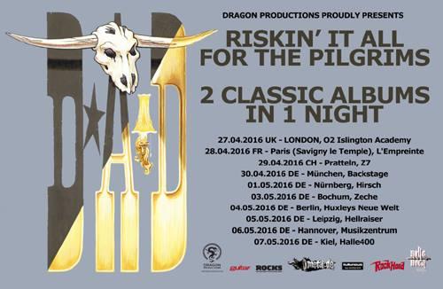 D.A.D. - Riskin' It All For The Pilgrims tour flyer - 2016