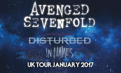 avenged sevenfold - tour inglese disturbed in flames - 2017