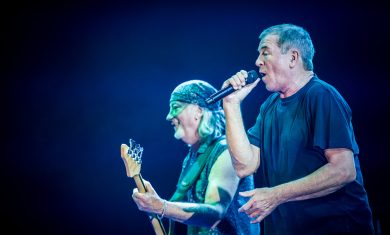 Roger Glover and Ian Gillan of Deep Purple perform live at Mediolanum Forum in Milan, Italy.