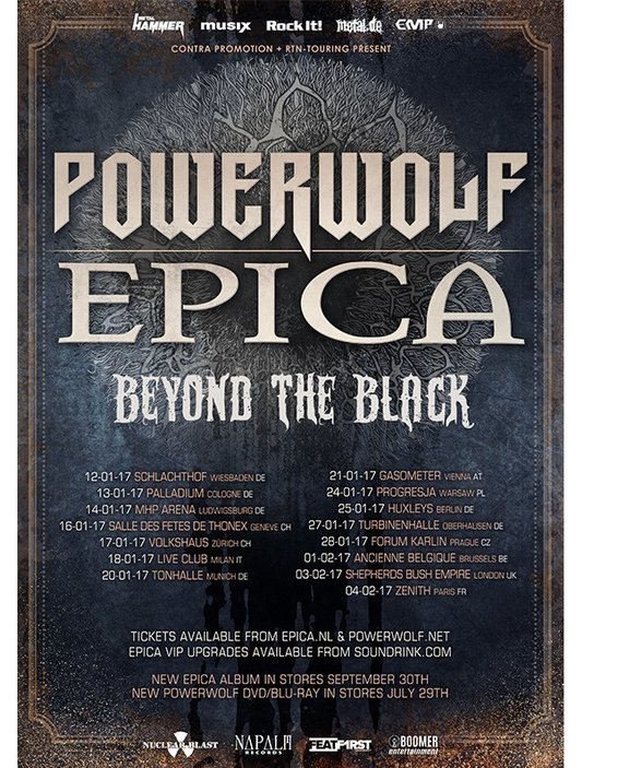 POWERWOLF - EPICA - BEYOND THE BLACK - tour - 2016