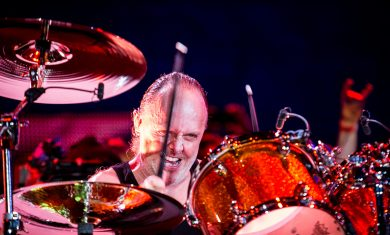 Lars Ulrich of Metallica performs live on stage at Sonisphere Festival