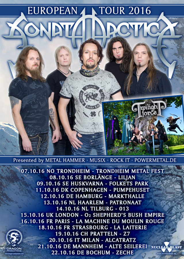 sonata arctica - tour 2016