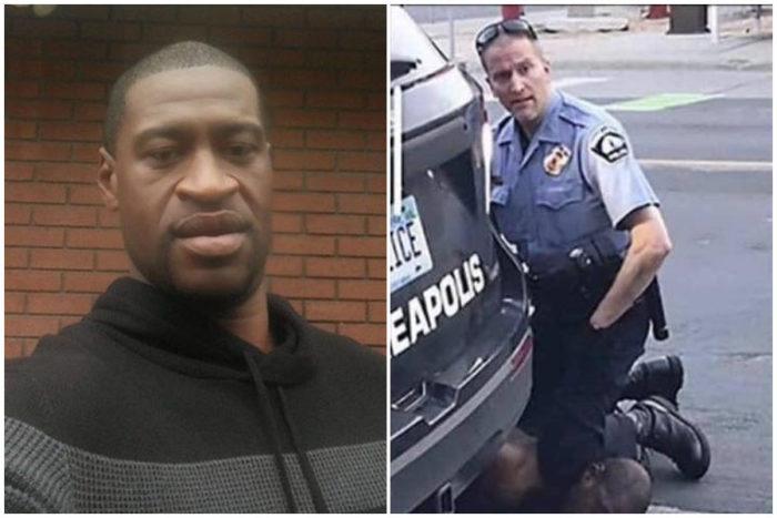 A sinistra George Flyd e a destra il tragico momento dell'arresto che ha portato alla morte del'uomo